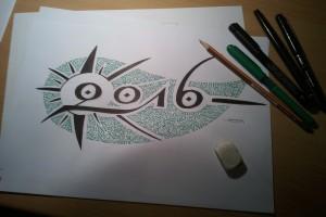 "calligraphie ""Bonne Année 2016"" : making of (3)"