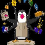 Mascotte Prestashop : macareux jongleur en couleur