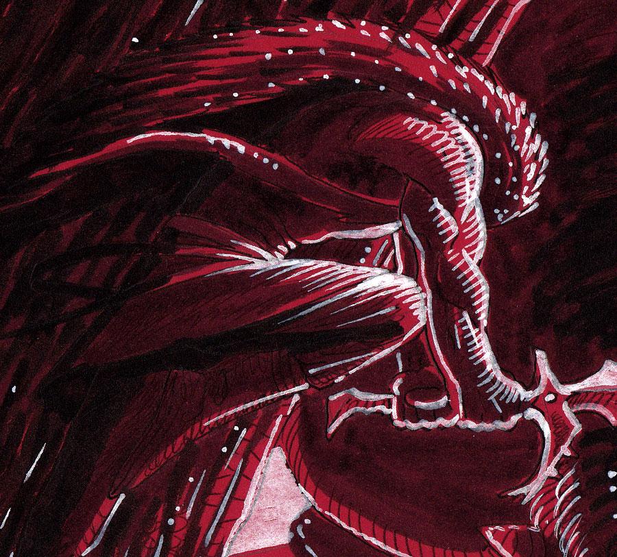 Konrakh et le dragon - détail ( Inktober 2018 jour 24 : Chop - Trancher )