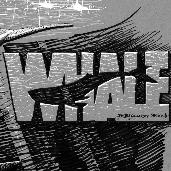 Inktober 2018 d12 : Whale - lettering