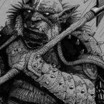 """Inktober 2018 jour 6 : """"Drooling"""" / salive"""" : Alien vs. Orc, détail"""