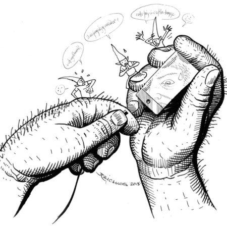 """Les gros doigts et le téléphone (Inktober 2018 jour 17: """"Gonflé"""" / """"Swollen"""")"""