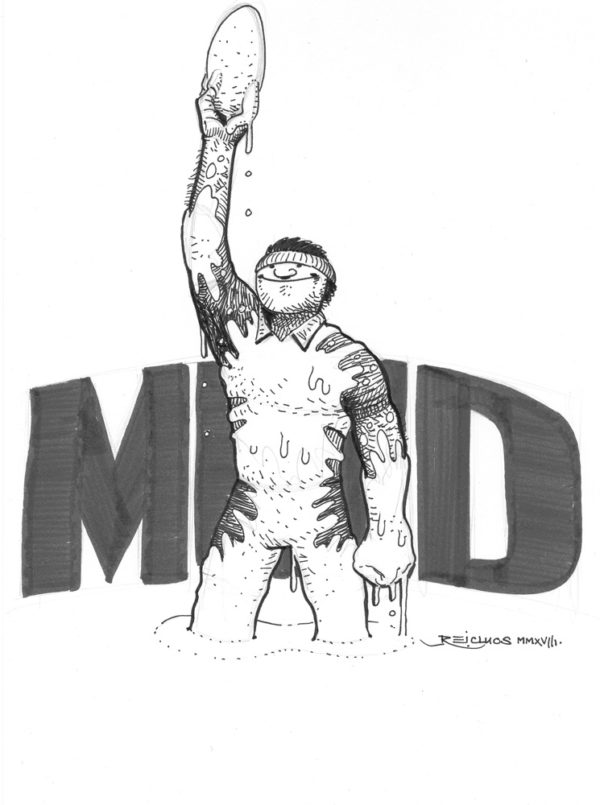 Rugbyman dans la gadoue (Inktober 2018 jour 23 : muddy / boueux )