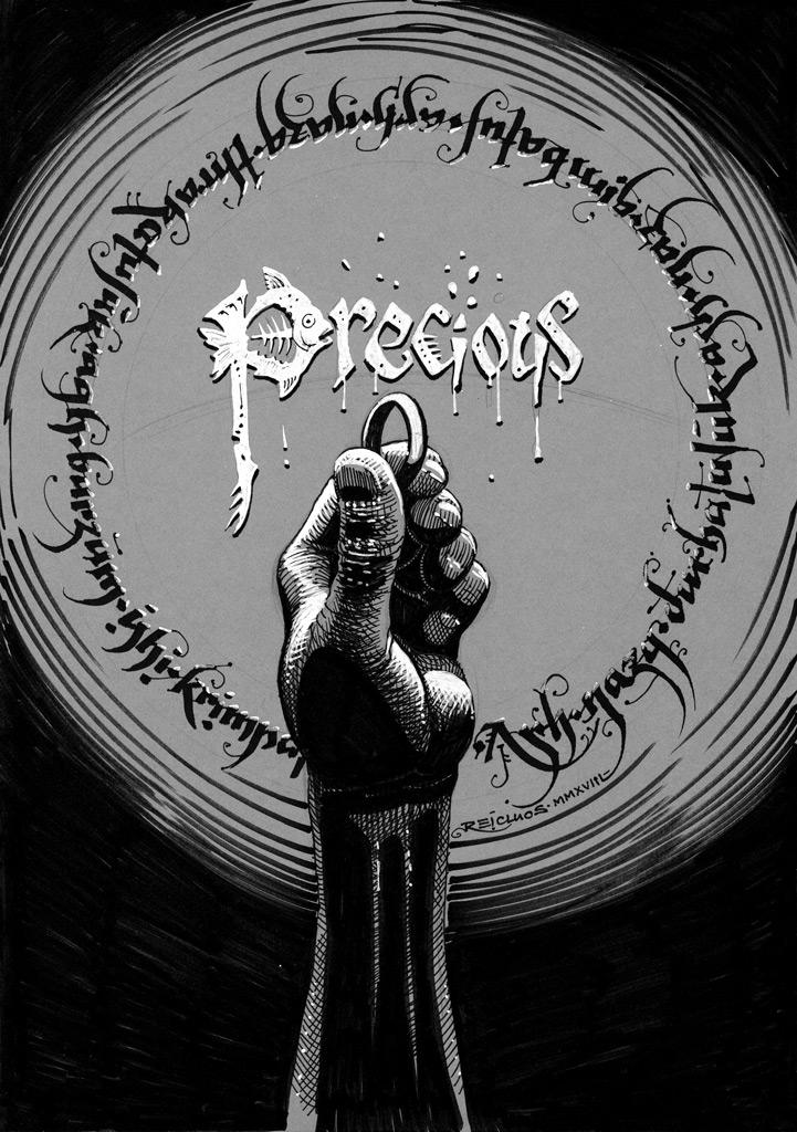 Inktober 2018 : Precious / Précieux : Gollum et l'anneau unique