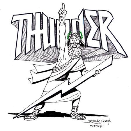 """ZEUS, DIEU DU TONNERRE, au milieu des années 80 (Inktober 2018 jour 27 : """"Thunder"""" / """"Tonnerre"""")"""