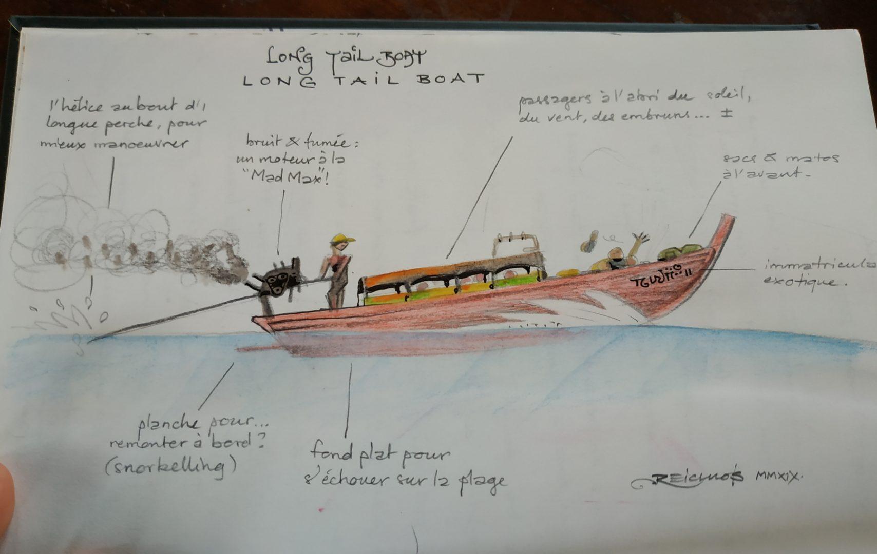 """Carnet de vadrouille 2019 : les """"Long tail boat"""" en Thaïlande - les bateaux à longue queue pour les courts trajets"""