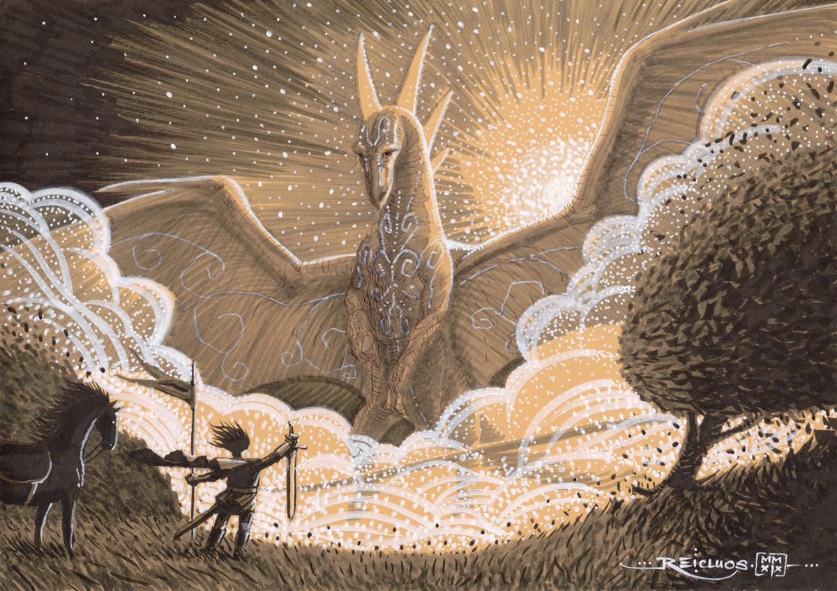 Un Dragon ailé gigantesque se pose. Au milieu des bourrasques déclenchées par ses ailes, se tient un chevalier, pied à terre à côté de sa monture. Il a fiché en terre son étendard, et brandit en signe de paix son épée, lame vers le sol.