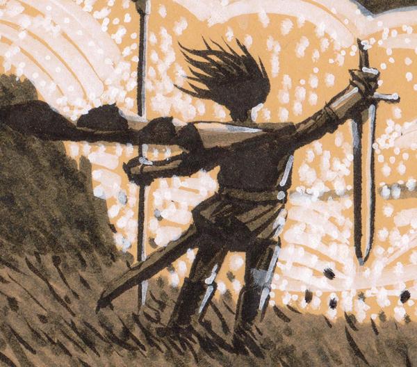Au milieu des bourrasques déclenchées par les battements d'ailes du dragon, se tient un chevalier. Il a fiché en terre son étendard, et brandit en signe de paix son épée, lame vers le sol.