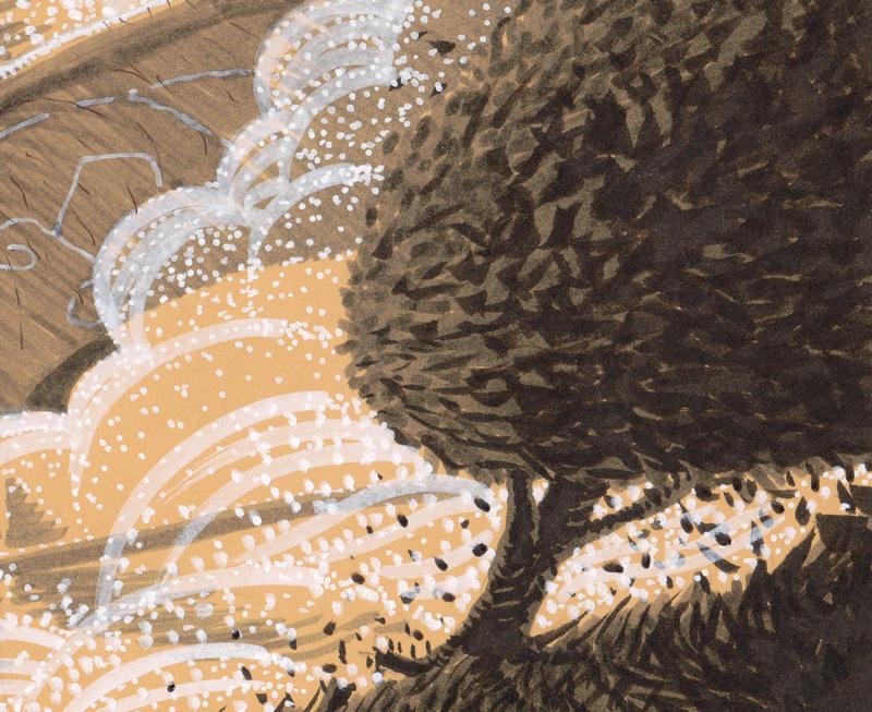 Au milieu des bourrasques déclenchées par les battements d'ailes du dragon, un arbre ploie dans une tempête de feuilles.