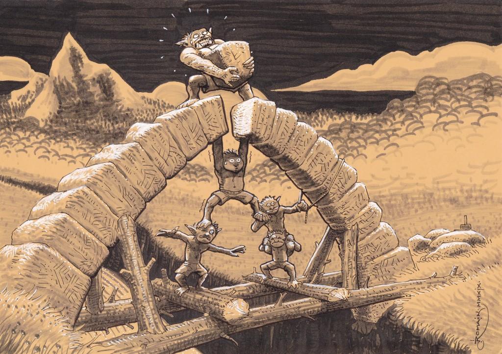 Une bande d'orques achève avec une technique improbable la construction au-dessus d'un torrent d'un pont en pierre.