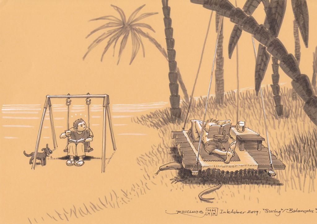 un jeune homme sur une petite balançoire pour enfant contemple avec envie son voisin, dont la balançoire suspendue à un palmier fait la taille d'un confortable lit double, avec oreillers et boisson fraîche.