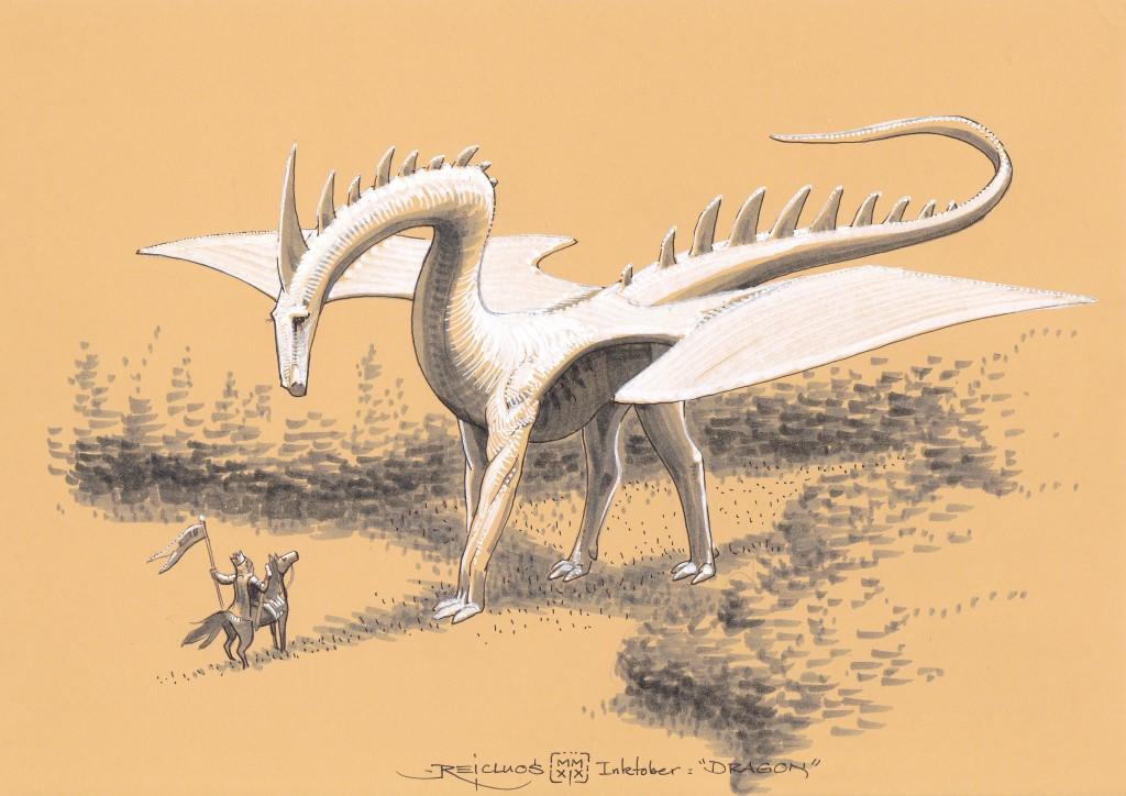 Un dragon ailé blanc, haut sur pattes, à l'air apaisé, domine à l'orée d'une forêt un cavalier humain portant une couronne et un étendard.