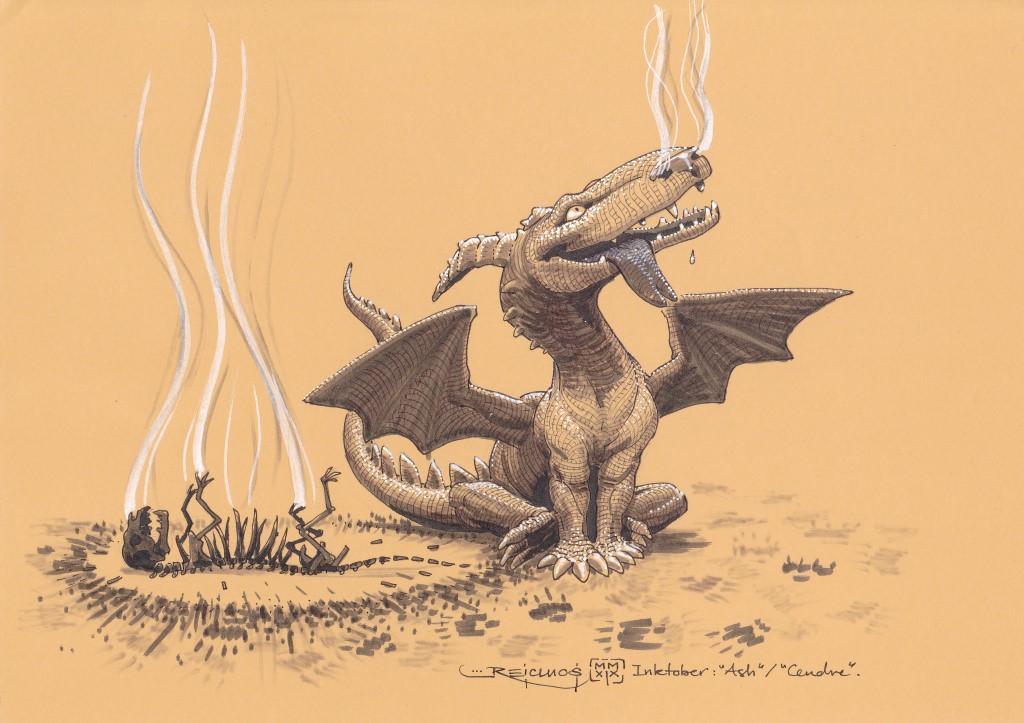 Un sympathique petit dragon, souriant, la langue pendante, se tient tout fier, les narines encore fumantes, comme attendant une caresse, auprès de la carcasse calcinée d'un petit animal.