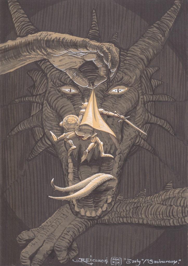Une énorme patte griffue tient par la cape un chevalier gesticulant désespérément devant la gueule ouverte d'un Dragon