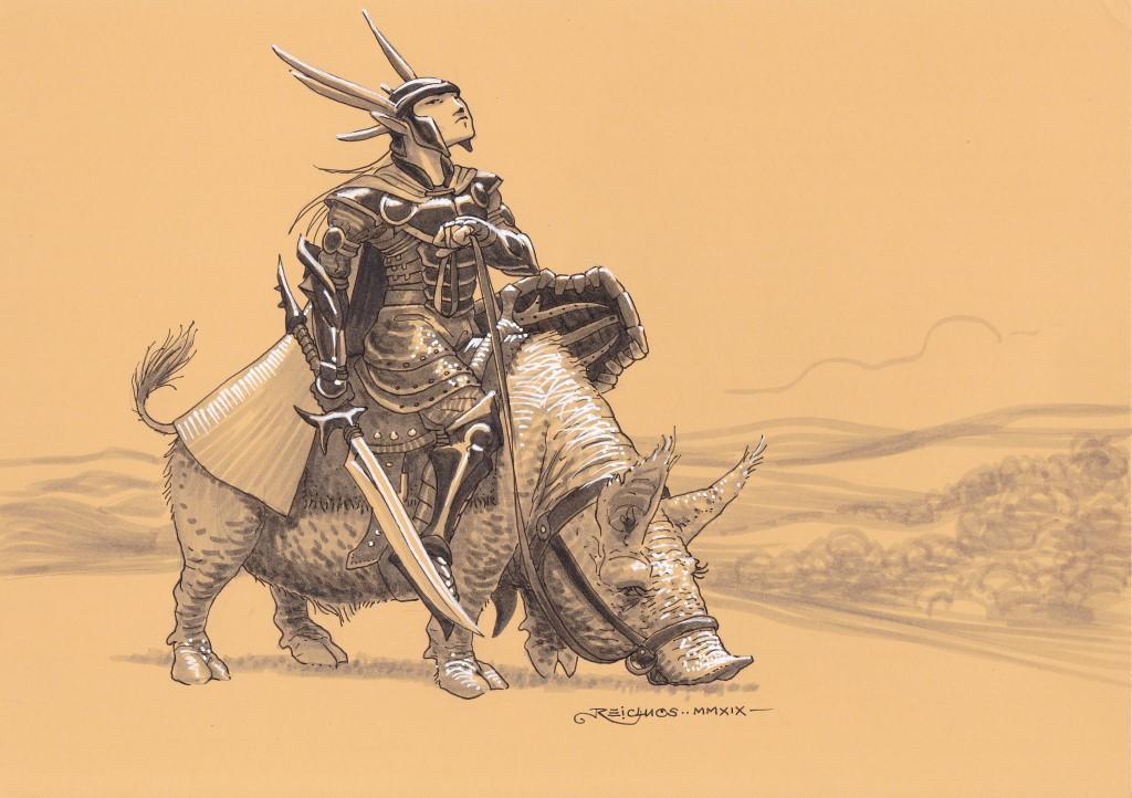 Un fier guerrier elfe, revêtu de sa rutilante armure, chevauche un cochon peu fringant.