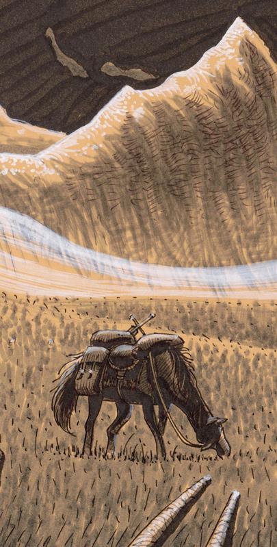 Un cheval broute paisiblement dans une vaste plaine. Au loin, une montagne abrupte domine.
