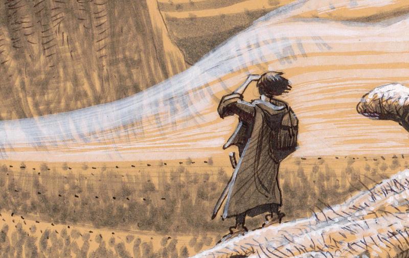 Un voyageur juché sur un crâne gigantesque. Il scrute par delà les brumes une montagne abrupte.