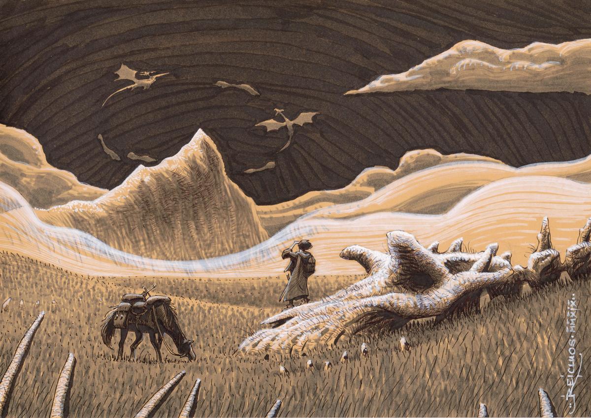 Dans une vaste prairie, un voyageur est descendu de cheval pour se jucher sur un crâne de dragon. Il scrute par delà les brumes une montagne abrupte, au-dessus de laquelle tournoient des créatures ailées gigantesques.
