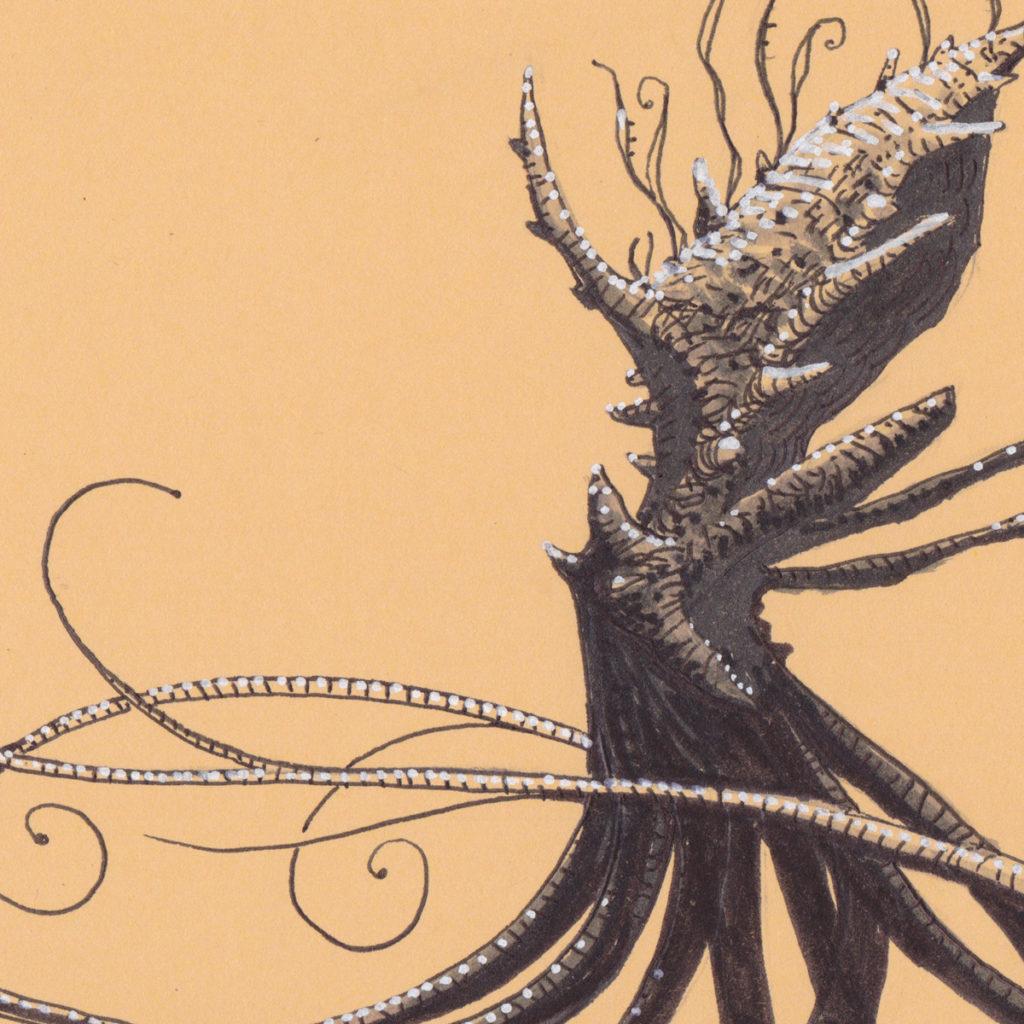 Pieuvre-Kraken II - original papier - détail