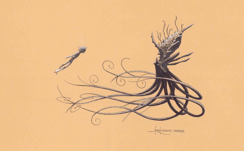 Pieuvre-Kraken II - original papier