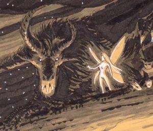 """Rituels antiques - """"Ancient rituals"""" - détail : le dragon et la fée"""