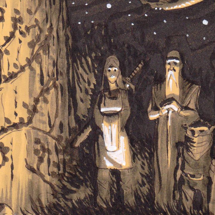 """Rituels antiques - """"Ancient rituals"""" - détail : la guerrière, le mage et le gobelin"""