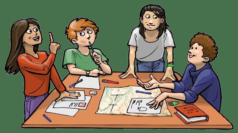 Elèves en travail de groupe